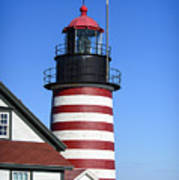 Red White Striped Lighthouse Art Print