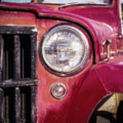Red Willys Jeep Truck Art Print