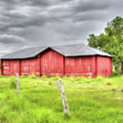Red Wood Barn - Edna, Tx Art Print