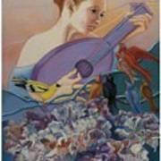Redbird Sings To Farie Art Print