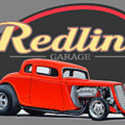 Redline Hot Rod Garage Art Print