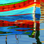 Reflection Boats Malta Art Print by Barry Culling