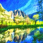 Reflection In Merced River Of Yosemite Waterfalls Art Print