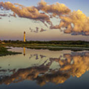 Reflection Of Clouds And Lighthouse Art Print
