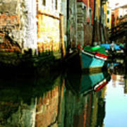 Reflection Of The Wooden Boat Art Print