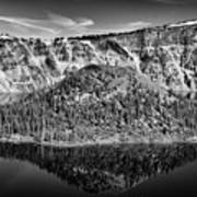 Reflection Of Wizard Island Crater Lake B W Art Print