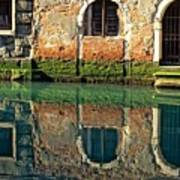 Reflection On Canal In Venice Art Print