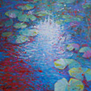 Reflection Pond With Liles Art Print