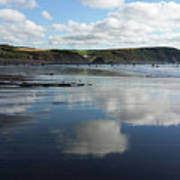 Reflections Of Widemouth Bay Art Print