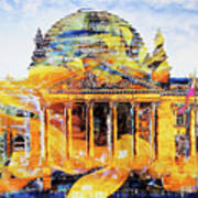 Reichstag And Flower Art Print