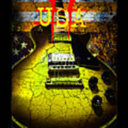 Relic Guitar Music Patriotic Usa Flag Art Print