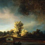 Rembrandt Landscape Paintings - The Stone Bridge Art Print