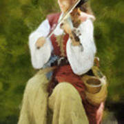 Renaissance Fiddler Lady Art Print