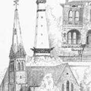 Rendering Of Indianapolis Landmarks  Art Print