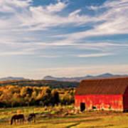 Red Barn Autumn Landscape Art Print