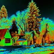 Residential Spokane In Cosmic Winter Art Print