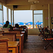 Restaurant On A Beach In Tel Aviv Israel Art Print by Zalman Latzkovich