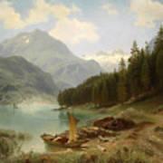 Resting By The Mountain Lake Art Print
