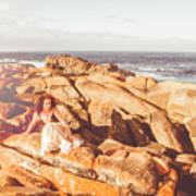 Resting On A Cliff Near The Ocean Art Print