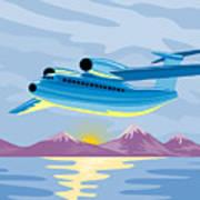Retro Airliner Flying  Art Print