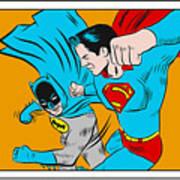 Retro Batman V Superman Art Print