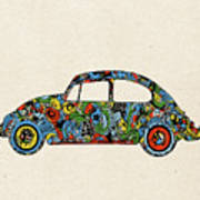 Retro Beetle Car 3 Art Print