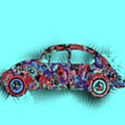 Retro Beetle Car 5 Art Print