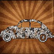 Retro Beetle Car Art Print