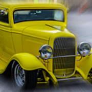 Retro Car In Yellow Art Print