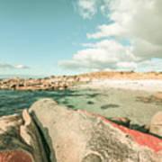 Retro Filtered Beach Background Art Print
