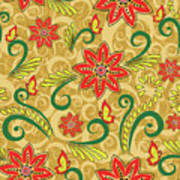 Retro Floral Seamless Pattern Art Print