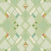 Retro Green Diamond Tile Vintage Wallpaper Pattern Poster