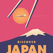Retro Japan Mt Fuji Tourism - Magenta Art Print