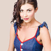 Retro Pin-up Girl In Blue Denim Dress Art Print
