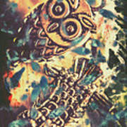 Retro Pop Art Owls Under Floating Feathers Art Print