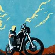 Retro Scrambler Motorbike Art Print
