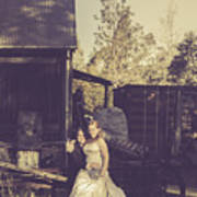 Retro Wedding Couple At Australian Farm Cottage Art Print