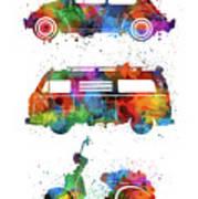Retro Wheels Watercolor Art Print