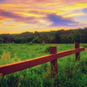 Retzer Nature Center - Sunset Over Field Art Print