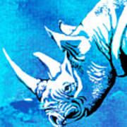 Rhino Animal Decorative Blue Poster 1 - By  Diana Van Art Print