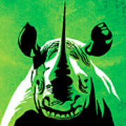 Rhino Animal Decorative Green Poster 5 - By Diana Van Art Print