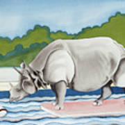Rhino In La Art Print