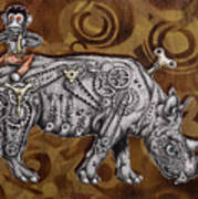 Rhino Mechanics Art Print by Tai Taeoalii