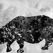 Rhinoceros-black Art Print