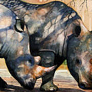 Rhinos in dappled shade. Art Print