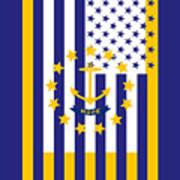Rhode Island State Flag Graphic Usa Styling Art Print