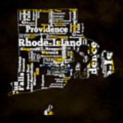 Rhode Island Typographic Map Art Print