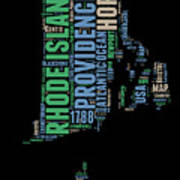 Rhode Island Word Cloud 2 Art Print