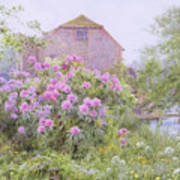 Rhododendrons By A Watermill Art Print by George Marks