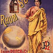 Rhum - Bottle - Earth - Map - Poster - Vintage - Wall Art - Art Print  - Girl  Art Print